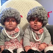 Детская зимняя шапка для парика, шляпа для маленькой бабушки с вьющимися волосами, реквизит для фотосессии новорожденных, аксессуары, шапка...