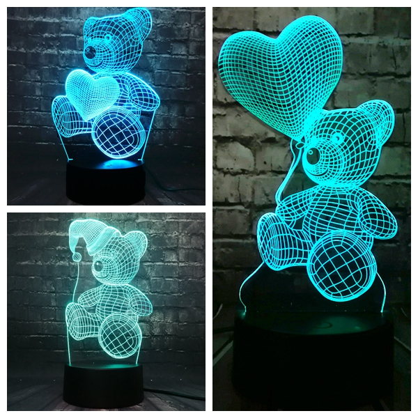 Hot Sale 3D LED Night Light Bear Love Ball 7 Color Change Home Room Baby Girl Sleep Mood Table Lava Holiday Party Kids Gift Toy