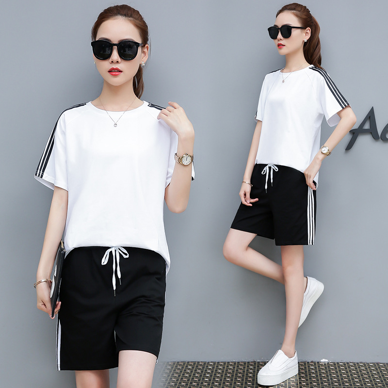 With Cotton Sports WOMEN'S Suit Summer 2019 New Style Casual Fashion Large Size Short Sleeve Shorts Two-Piece Set WOMEN'S Dress