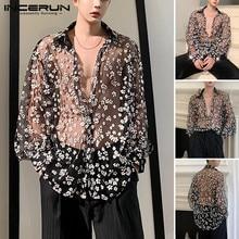 Shirts Mesh Long-Sleeve Incerun Men Blouse Collar Printing Loose Party See-Through Casual