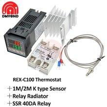 Contrôleur de température numérique PID, thermostat REX C100 + relais SSR 40DA + Thermocouple K sonde RKC + radiateur relais 1m 2m