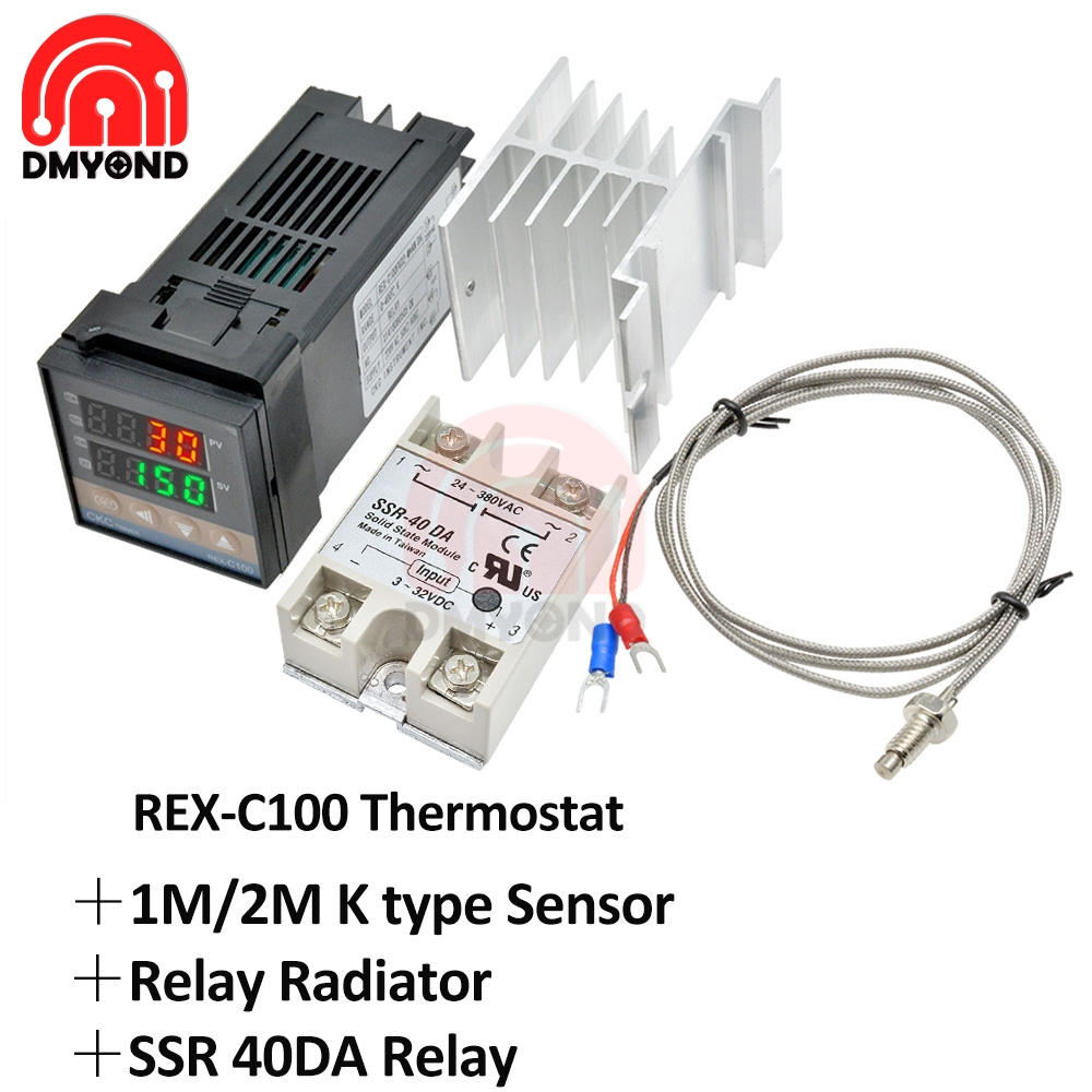 Régulateur de température PID numérique REX-C100 REX C100 thermostat + 40DA SSR relais + K Thermocouple 1m 2m sonde RKC + relais radiateur