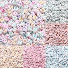 Perline acriliche a lettera di colore misto perline distanziate allentate con alfabeto piatto rotondo per gioielli che fanno accessori fatti a mano per braccialetti fai-da-te