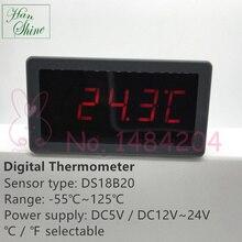 Цифровой термометр 5135T DS18B20 Индикатор температуры-55~ 125C DC5V 12V~ 24V источник питания красный/синий дисплей