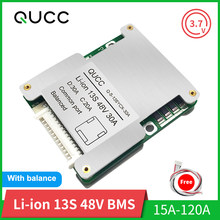 Qucc BMS 13S 48V 15A 20A 30A 40A 50A 60A100A 120A 18650 Balancer PCB Lithium Battery Protection Board for Electric Vehicle Ebike