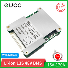 Qucc BMS 13S 48V 15A 20A 30A 40A 50A 60A100A 120A 18650 Balancer PCB Lithiumแบตเตอรี่สำหรับยานพาหนะไฟฟ้าEbike