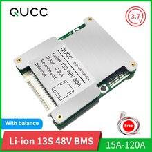 Qucc BMS 13S 48V 15A 20A 30A 40A 50A 60A100A 120A 18650 밸런서 PCB 전기 자동차 용 리튬 배터리 보호 보드 Ebike