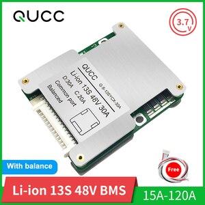 Image 1 - Qucc BMS 13S 48V 15A 20A 30A 40A 50A 60A100A 120A 18650 איזון PCB סוללת ליתיום הגנת לוח לרכב חשמלי Ebike