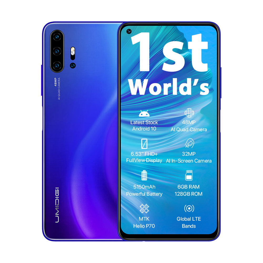 UMIDIGI F2 versión Global 6GB 128GB NFC Android 10 6,53 FHD 32MP Selfie Helio P70 48MP AI Quad Cámara teléfono móvil 5150mAh - 5