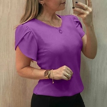 Women Tops Tees Short Sleeve Cross Cuff T Shirt Fashion Summer Round Neck Solid Color BlackRed pink Casual Female T-shirt