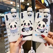 Lindo suave de TPU para Samsung Galaxy S20 Plus Nota 10 Plus 8 9 S7 S8 S9 S10 S21 J4 J6 J8 A6 A7 A8 más 3D Panda funda de silicona