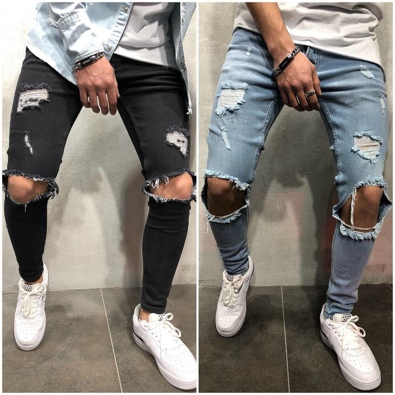 New Fashion Streetwear Men's   Jeans   Hip Hop pants Blue Color Skinny Zipper Destroyed Ripped   jeans   Broken Pants Homme Trousers