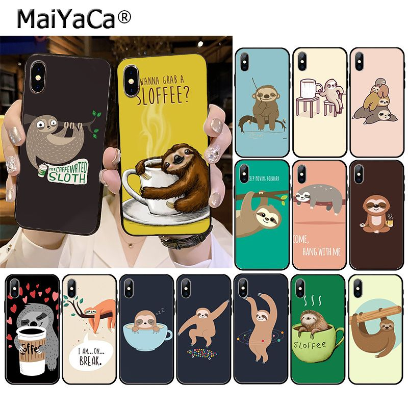 MaiYaCa Caffeinated Sloth animal Phone Accessories Case for iPhone 11 Pro XS MAX XS XR 8 7 6 Plus 5 5S SE