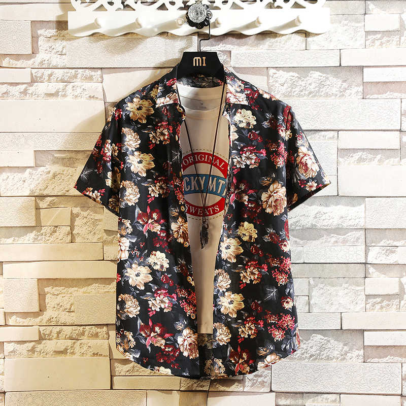2020 neue Sommer Herren Kurzarm Hawaiian Shirts Baumwolle Casual Shirts Floral Welle Regelmäßige Herren Kleidung Mode