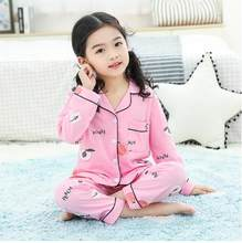 Baby Girls Cotton 2Pcs cardigan Pajama Sets Kids Clothes Animal Cartoon Pajamas For Casual Child boy Sleepwear Outfits(China)