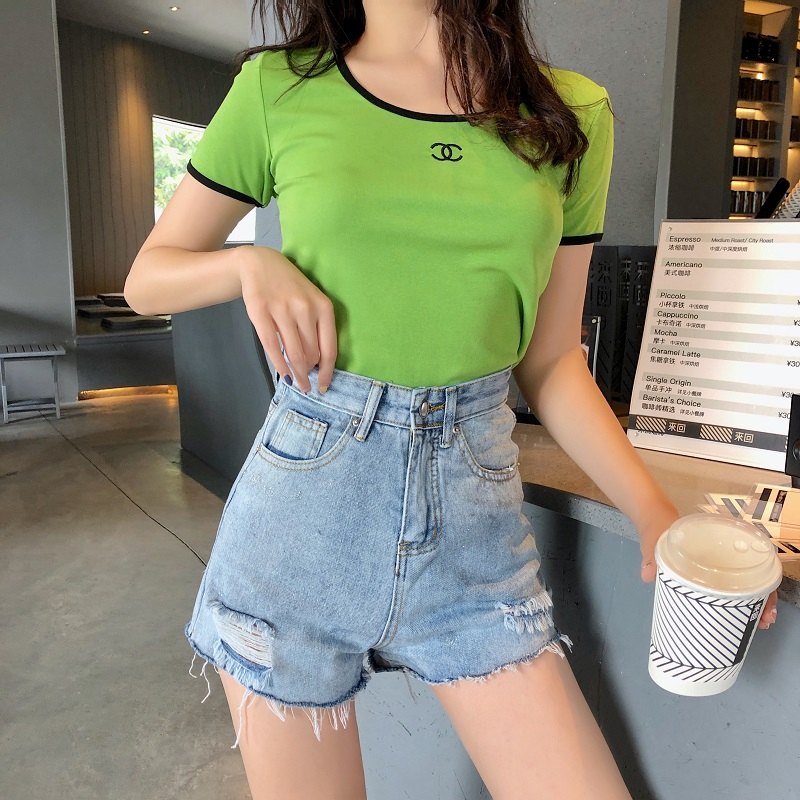 2019 summer women's French classic low collar round neck short sleeved t shirt tight bottoming shirt was thin sexy shir