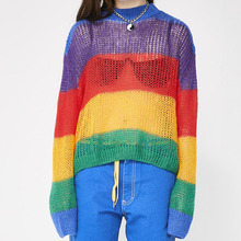Lazy See-through Rainbow Striped Jumper Long Sleeve Mock Neck Cropped Knit Pullovers Slouchy Women's Sweaters Alt Girl Outfit / mock neck see through mesh blouse