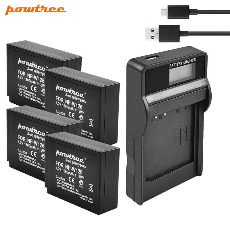 Powtree 7.2V 1.6Ah NP-W126 Camera Battery +USB Charger For Fujifilm FinePix HS30EXR HS33EXR X-Pro1 X-E1 X-E2 X-M1 X-A1 X-A2 X-T1