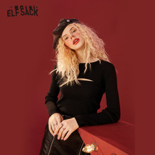 ELFSACK Solid Pure Hollow Out Casual Knit Pullover Sweaters Women,2021 Winter ELF Vintage Korean Ladies Basic Daily Slim Tops
