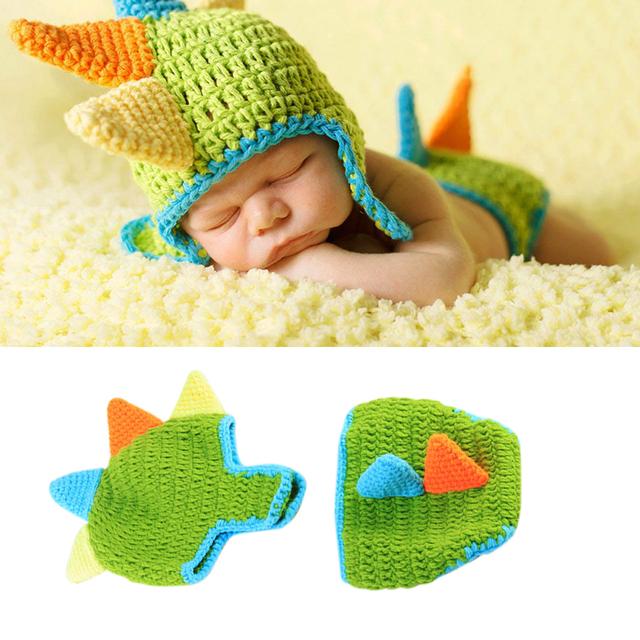 Noworodka dzianiny kostiumy dinozaurów 100 dni dziecko comiesięczne zdjęcie zdjęcie rekwizytu kapelusz stroje tanie i dobre opinie CN (pochodzenie) W wieku 0-6m 7-12m 13-24m Unisex Z wełny
