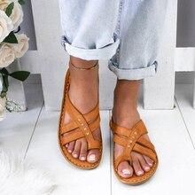 Women Sandals Summer Shoes Plus Size Footbed Flat Cross Tied Female Flip Flop Ladies