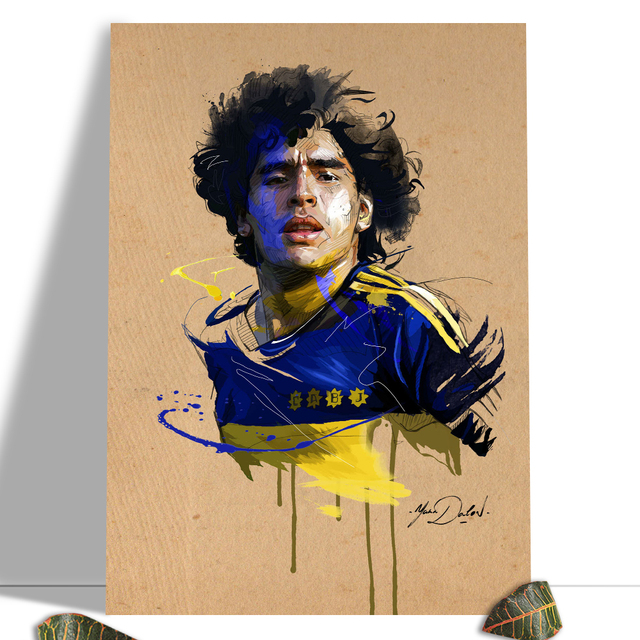 Diego Maradona Football Poster Canvas Comics Printed sports Decoration Painting Home Wall Living Study Room Child Room Bedroom 17