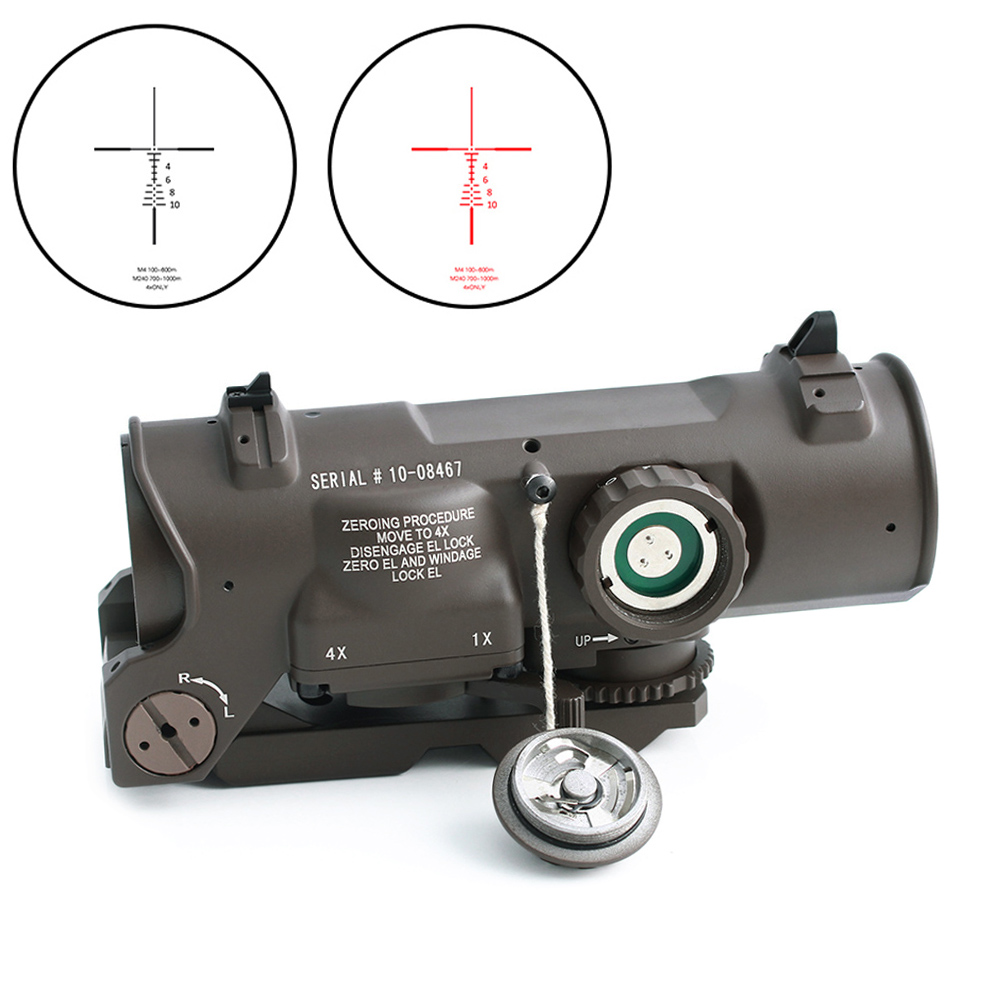 Tactical Rifle Scope 1x-4x Fixed Dual Purpose Optical Sight Red Illuminated Red Dot Sight For Rifle Hunting Shooting DE Color