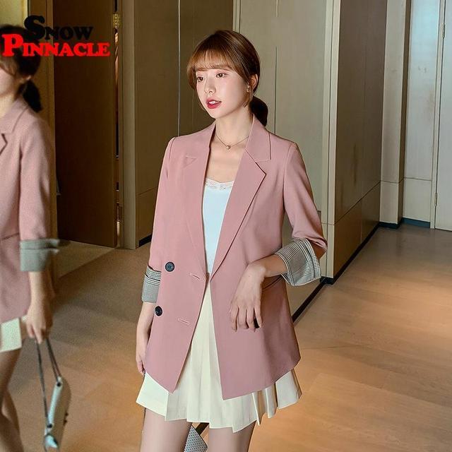Women Blazer Autumn Casual double botton Women Blazer Pockets Jackets Female Retro Suits Coat Feminino blazers 3