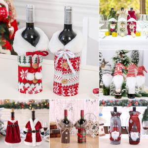 Christmas Wine Bottle Cover Merry Christmas Decor For Home 2020 Navidad Noel Christmas Ornaments Xmas Gift Happy New Year 2021