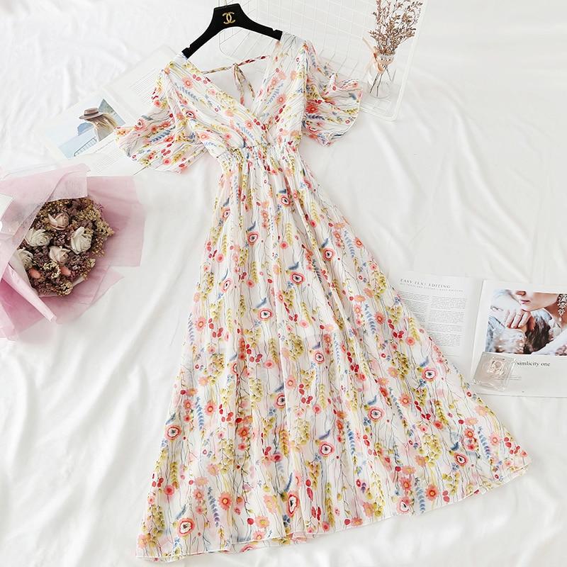 Summer Fairy Dress Women French Style Vintage Retro Chiffon Dress Short sleeve Casual Elegant Floral Print Dress Women 2021 New 16
