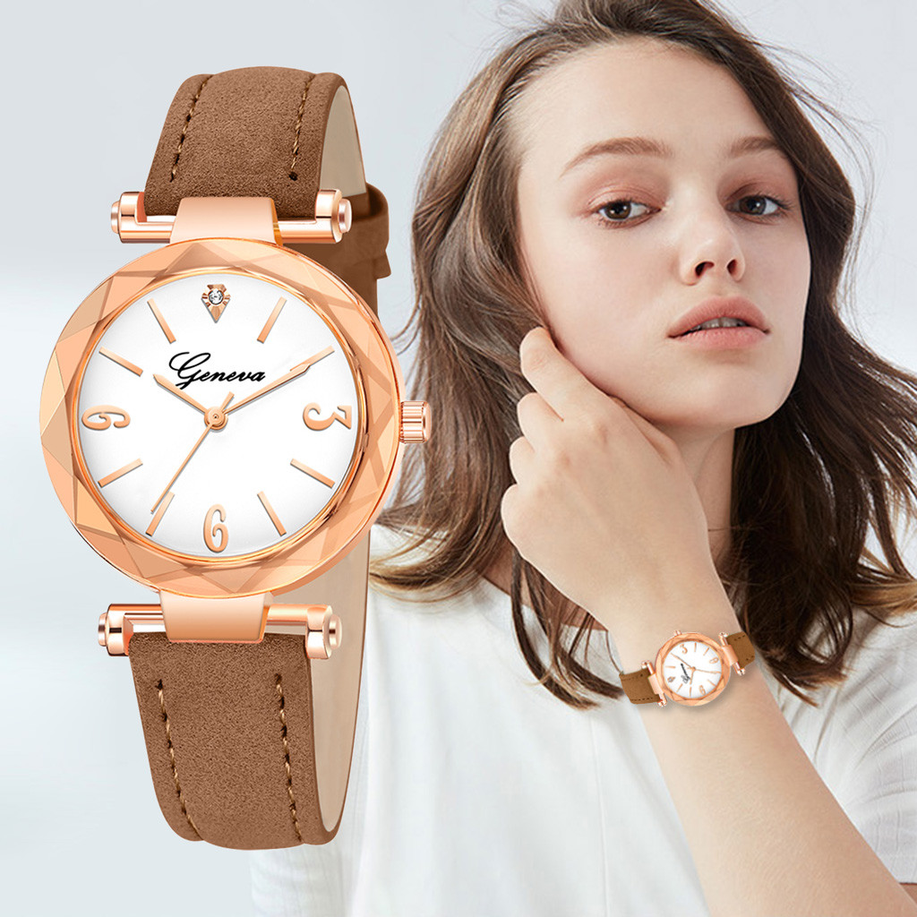 Simple Women Watches Scale Digital Dial Ladies Fashion Quartz Wristwatch Business Leather Strap Clock Casual Zegarki Damskie@50