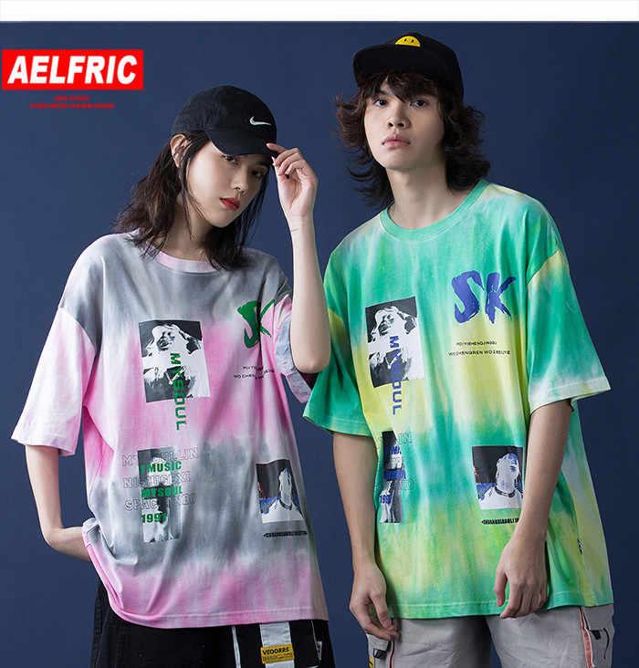 Aelfric Hip Hop Tie Dye T Shirt Wanita Beberapa Streetwear Tshirt 2020 Musim Panas Lengan Pendek Katun Tee Besar Plus Ukuran wanita