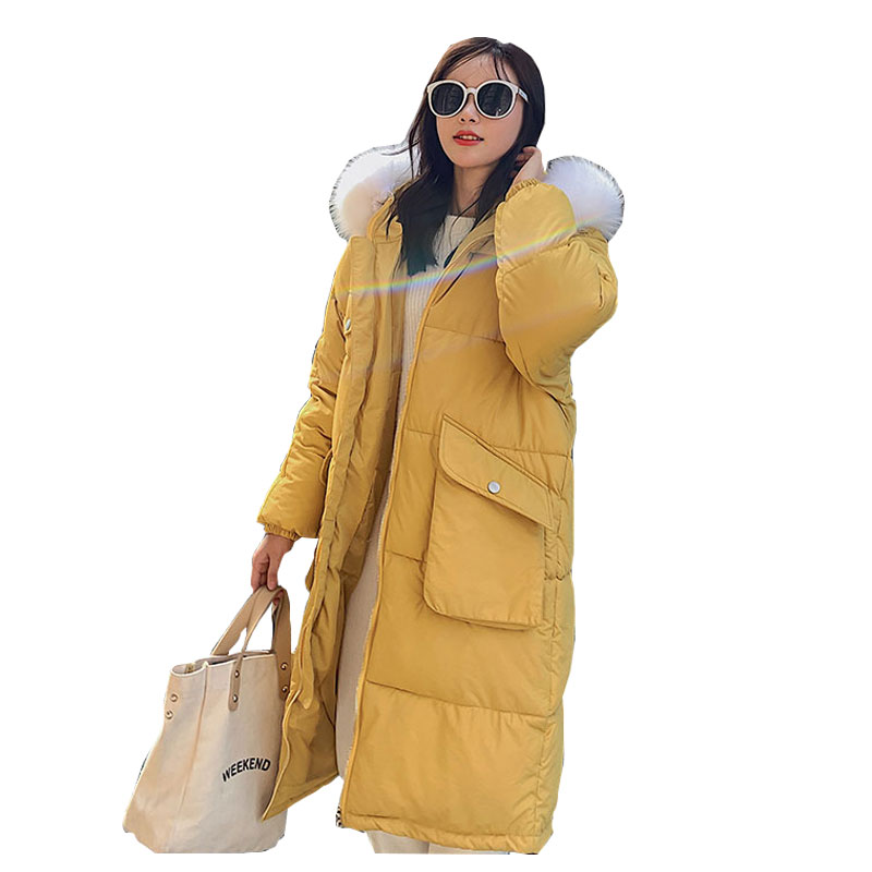 Chic Fur   Coat   Hooded Winter   Down     Coat   Warm Jacket Long Slim Women Cotton padded Wadded Parkas female jacket Big pocket