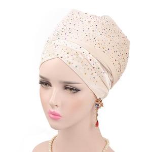 Image 1 - Helisopus 2020 New Muslim Long Tail Scarf Hat Women Starry Velvet Turban Chemo Cap Hair Accessories Women Headwraps
