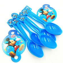 10pcs spoon Mickey Mouse Girls Kids Birthday Party Decoration Set Mickey Party Supplies Baby Birthday Pack event Kids Favors 10pcs self ink stamps kids party favors event supplies drawing toys for birthday party toys boy girl stamps toys