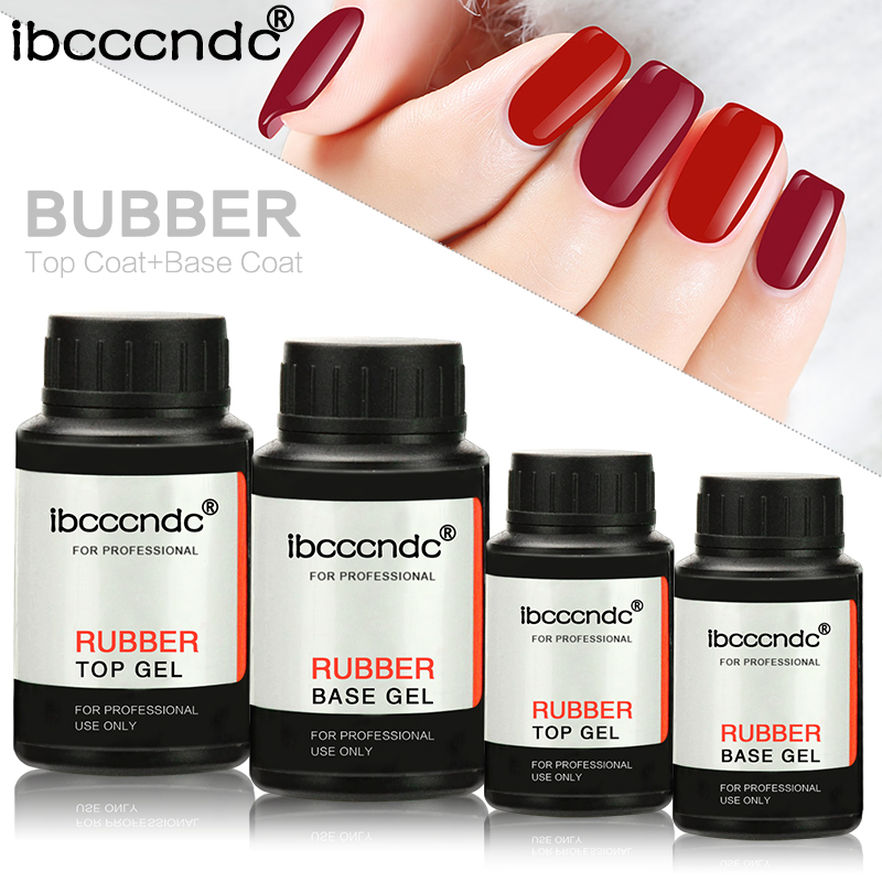 IBCCCNDC UV Fast Dry Varnish Rubber Base Coat Top Coat Long Lasting No Clean Shiny Gel Nail Polish Primer for Nail Art Design image