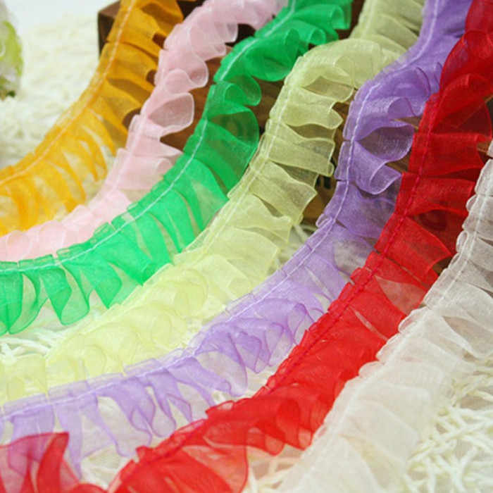 1M Pleated Tulle Lace Fabric Ribbon Blue Purple Lace Trim 2.5cm DIY Sewing Guipure Craft Supplies Pink Green Laces Material JH14