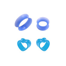 4PCS Silicone Ear Plug and Tunnel Heart Shape Flexible Ear Taper Ear Expander Stretcher Earring Gauge Blue Body Jewlery Piercing(China)