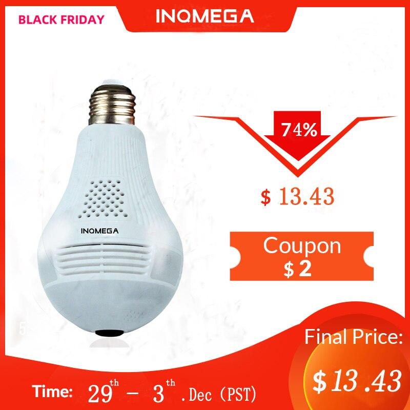 INQMEGA 360 Degree LED Light 960P Wireless Panoramic Home Security Security WiFi CCTV Fisheye Bulb Lamp IP Camera Two Ways Audio