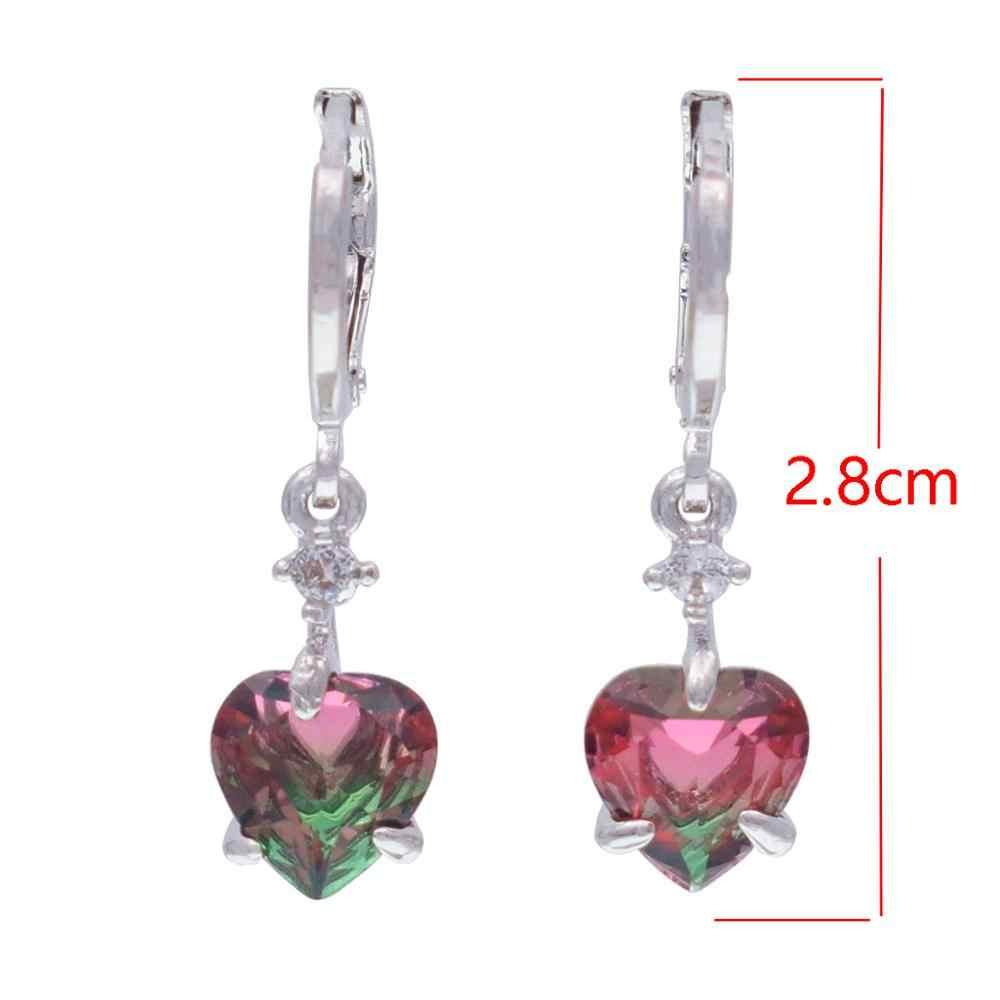 Dangle Earrings 585 Rose Gold tourmaline Color Water Drop Zirconia Dangle Earrings Crystal  Earrings For Women Fashion Jewelry
