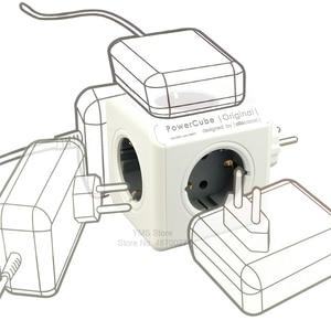 Image 2 - Allocacoc כוח רצועת האיחוד האירופי תקע קיר שקע מתאם PowerCube 4 חכם שקעי חשמל 250V 3680W הארכת עבור בית משרד