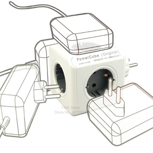 Image 2 - Allocacoc電源ストリップeuプラグウォールusbソケットアダプタpowercube 4スマートアウトレット電気250v 3680ワットのためのホームオフィス