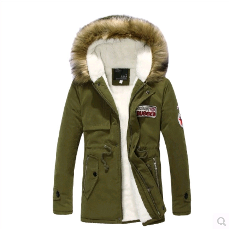 2017 New Style Cotton-padded Clothes Men Winter Hooded Coat Men's Badge Korean-style Plus Velvet Couple Clothes Mid-length Cotto