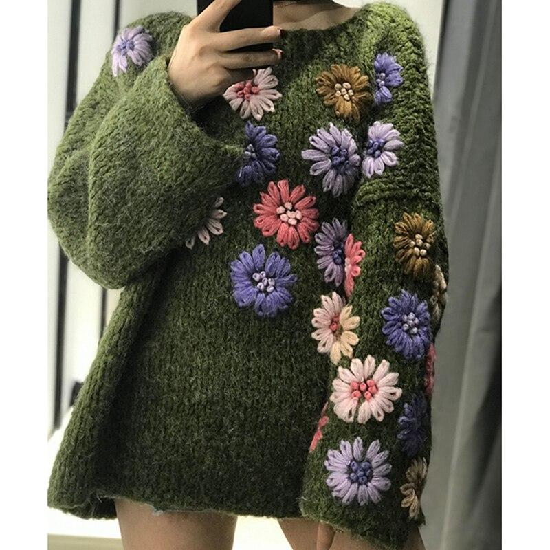 sweater flowers. Knitted women winter sweater knit color sweater mohair knitted women sweater knitted women sweater flower print