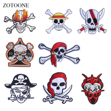 ZOTOONE Pirate Patches Cool Skull Stickers Diy Iron on Clothes Heat Transfer Applique Embroidered Applications Cloth Fabric G