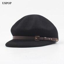 USPOP 2019 New Winter hats thick wool berets vintage belt decoration newsboy caps visor octagonal