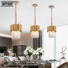 Modern pendant light LED Crystal Lighting Golden lights hanging ceiling lamp Bedroom light fixture living room Led pendant lamps m best price new modern crystal hanging lamps creative crystal pendant lamp luxury bedroom living room led ceiiling light