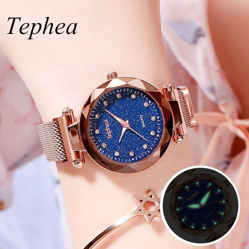 Luxury Rose Gold Women Watch Magnet Starry Sky Wrist Watch For Ladies Female Wristwatch Waterproof Reloj Mujer Relogio Feminino