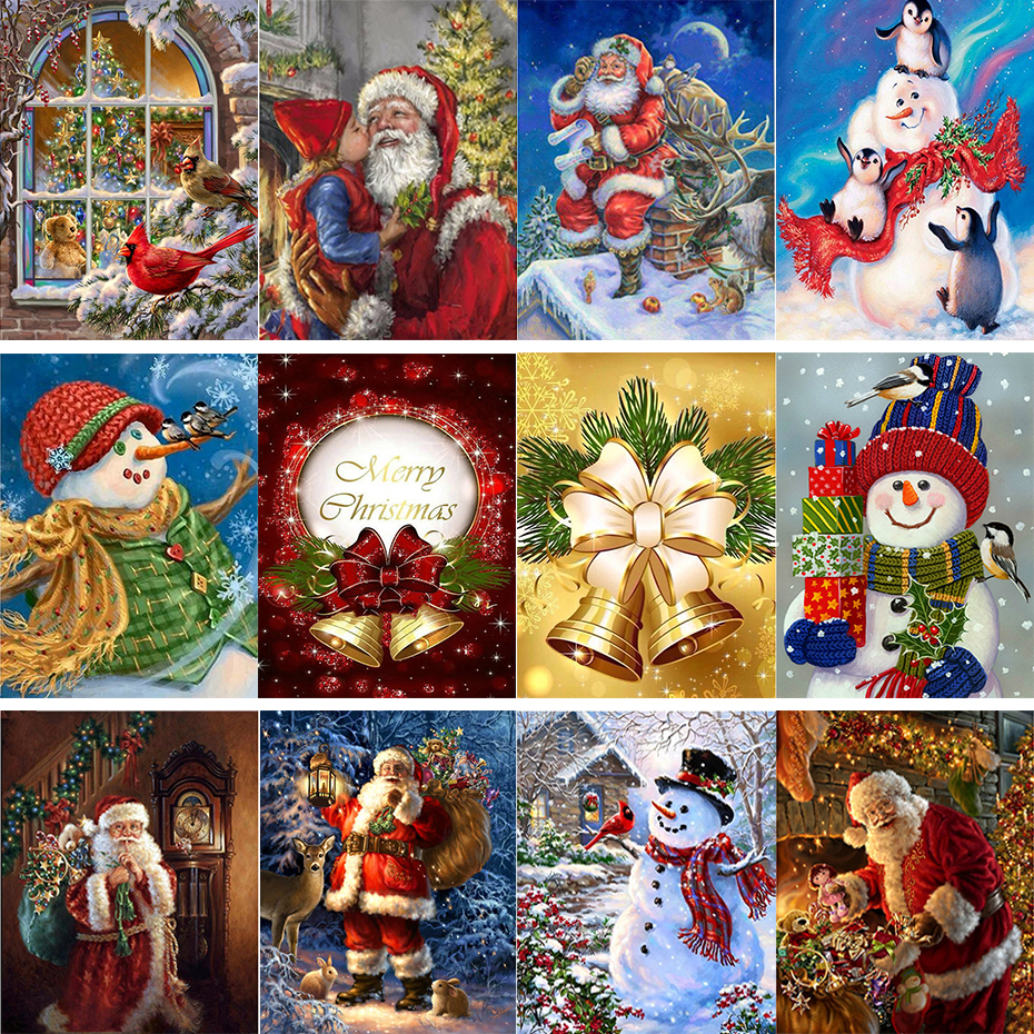 tapb Christmas Santa Claus Snowman Santa Claus DIY Oil Painting By Numbers HandPainted On Canvas Home Wall Art Decor Gifts-0