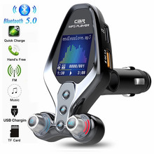 Bluetooth 5.0 Car Kit Handsfree FM Transmitter AUX Audio Receiver Car MP3 Player QC3.0 Dual USB Quick Charge Support Folder Play